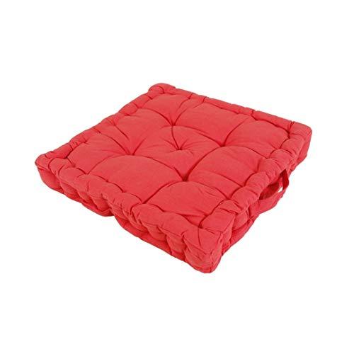 LEYENDAS Cojin para Silla de 40 x 40 x 8 cm para Interior y Exterior de 100% algodón cojín Acolchado/cojín para el Suelo (Rojo, 1)