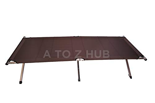 A to Z Hub Stainless Steel Cot with Carry Bag, Strong Stable Portable Folding Camping Cot, Great for Camping, Travelling, Home Lounging (Brown)