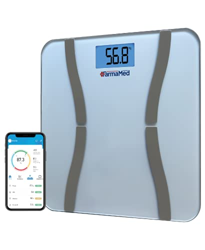 FARMAMED Digitale Personenwaage Smart Bluetooth, iOS und Android, Messung der Körperkomposition, Impedanz-Technologie BIA, Gewicht, Körperfett, Protein und BMI