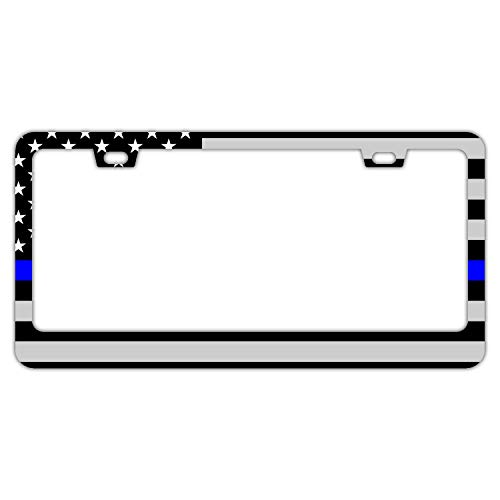 DZGlobal Thin Blue Line License Plate Frame - American Flag Car Licenses Plate Covers Waterproof License Tag Aluminium Metal Frames with 2 Holes and Screws(Black Blue Grey)