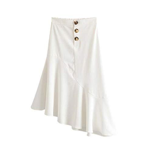 Vrouwen Elegante Solid Midi Rok Knop Ontwerp Stijlvolle Vrouwelijke Office Wear Rokken