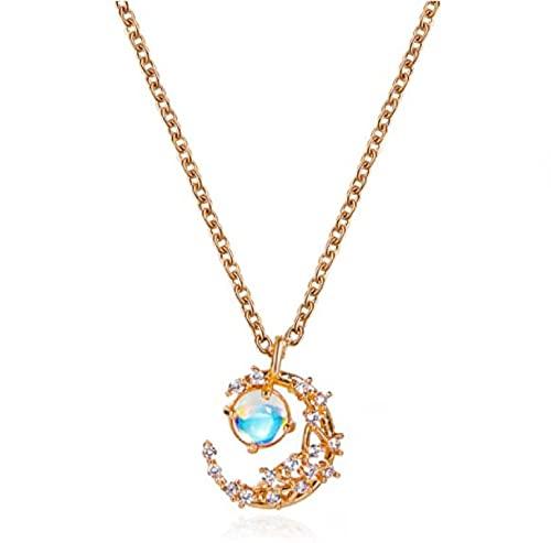 MENGHUA Collar colgante de piedra lunar Sen Simple Metal Luna Clavícula Cadena Ins viento suéter cadena 01KCgold