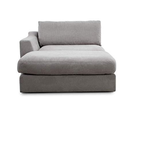 CAVADORE Sofa-Modul 'Fiona' Longchair mit Armteil links / XXL-Recamiere passend zur Couchgarnitur Fiona / 139 x 90 x 199/Webstoff hellgrau