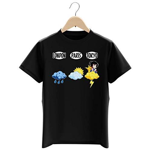 Okiwoki T-Shirt Enfant Garçon Noir Parodie Dragon Ball Z - Pokémon - Sangoku et Pikachu - Météo Tokyo : (T-Shirt Enfant de qualité Premium de Taille 11-12 Ans - imprimé en France)