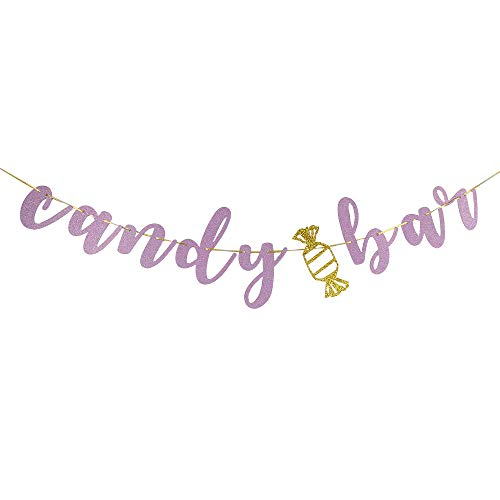 CANDY BAR Banner Bridal Shower,Engaged,Married,Wedding Anniversary Party Decorations(Pink Glitter)