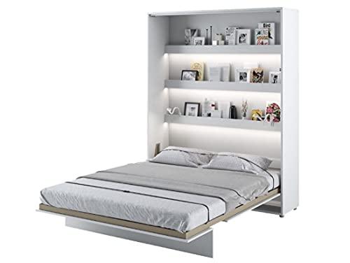 Cama plegable Bed Concept vertical 180 x 200 cm, color blanco lacado