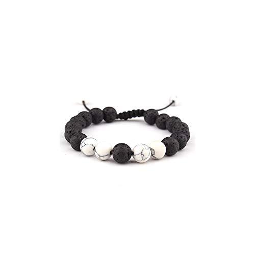 Awertaweyt Edelstein Perlen Armband Natural Lava Tiger Eye Stones Beads Bracelet Men Jewelry Handmade Black Charm Beaded Bracelets Bangles for Men Women Pulseras B522