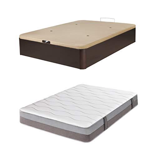 DHOME Pack Canape abatible tapizado 3D Madera + Colchón viscografeno, Reversible Conjunto (150x200 Wengué, 22mm + Colchón)