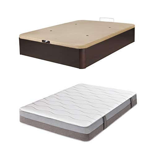 DHOME Pack Canape abatible tapizado 3D Madera + Colchón viscografeno, Reversible Conjunto (150x200 Wengué, 30mm + Colchón)