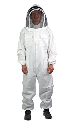 VIVO Professional Large Cotton Full Body Beekeeping Suit with Veil Hood BEE-V106