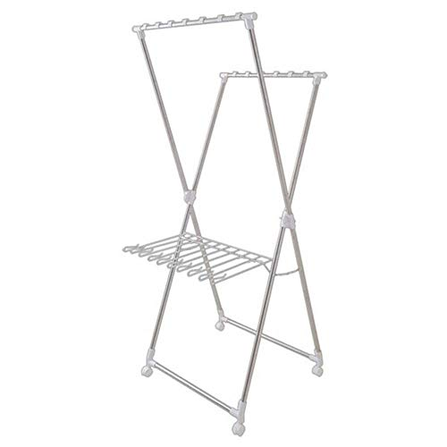 LHQ-HQ Drying Rack Drying Rack Floor Folding Household Drying Double Pole Bracket Balcony Stainless Steel Clothes Rack Clothes Drying Racks (Color : Silver, Size : 183.5x70x61cm)