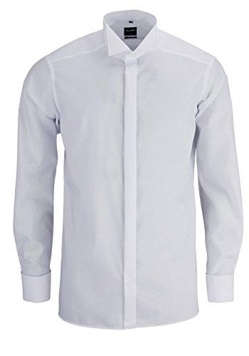 OLYMP Modern Fit Gala Hemd Langarm Popeline weiß ohne Manschettenknopf