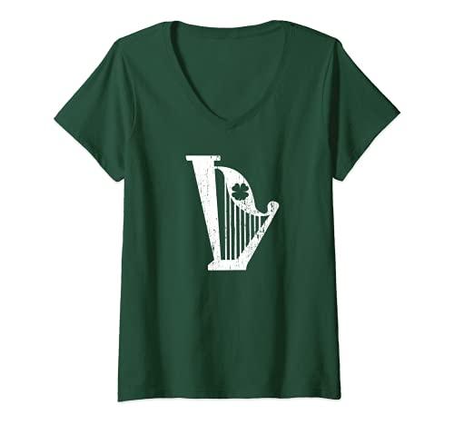 Mujer Retro Vintage Irlandés Arpa San Patricio Fiesta Profesor de Música Camiseta Cuello V