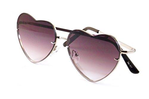 FBL Women's Rimless Metal Tinted/Gradient Flat Lens Heart Sunglasses A024 (Purple Gradient, 55)