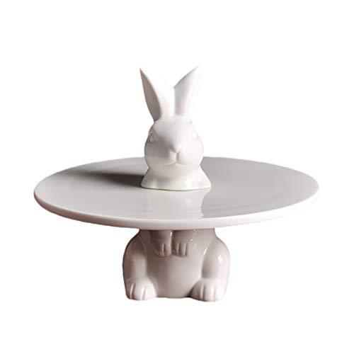 Angoily Soporte de Pastel de Conejo de Cerámica Soporte de Cupcake Platos de Postre de Cerámica Plato de Caramelo de Conejito Regalo Decoración de Fiesta de Pascua 8 Pulgadas