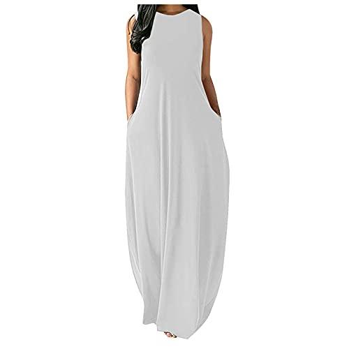 Zieglen Women Casual Summer Sleeveeless Sexy Plus Size Loose Plain Long Maxi Dress with Pockets Beach Sundress White