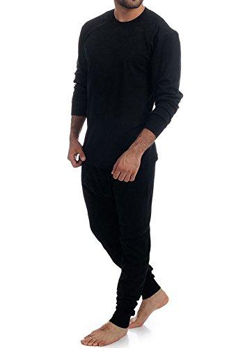 Elegance1234 2pc Thermique 100% Pur Coton pour Hommes (240 GSM) Haut à Manches Longues et à Long John Ensemble (ref:1190 & 1290) (L, Noir(Black))