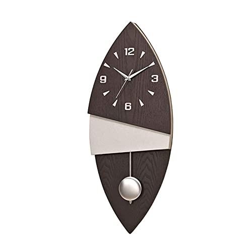 HCYY Reloj de Pared Grande Moderno, Tablero de Madera de Color Natural, Reloj de péndulo Digital, Reloj Decorativo silencioso de 9 Pulgadas
