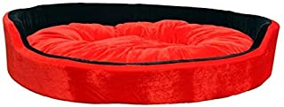 R.K Products Ultra Soft Ethinic Designer Bed for Dog and Cat Export Quality(Red and Black,Medium)