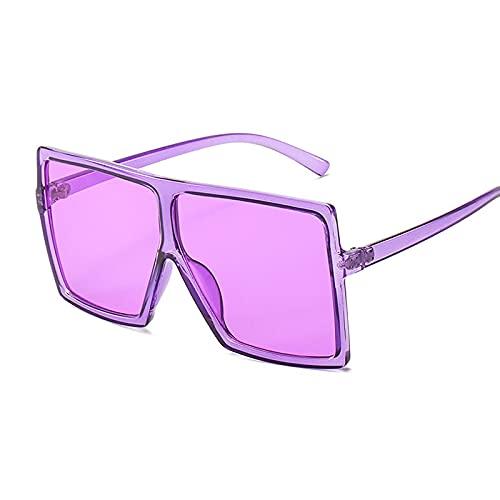 NJJX Gafas De Sol De Gran Tamaño Para Mujer, Gafas Cuadradas De Moda Rosa, Gafas De Sol De Montura Grande Para Mujer, Vintage, Retro, Unisex, Púrpura