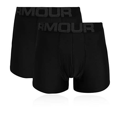 Under Armour Tech 3in 2 Pack, schnelltrocknende Boxershorts, komfortable Unterwäsche mit enganliegendem Schnitt im 2er-Pack Herren, Black / Black , XL