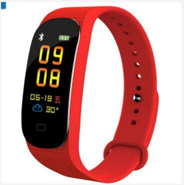HaiQianXin IP67 wasserdichte multifunktionale Blutsauerstoff/Druck Fitness Armband Fitness Tracker Schrittzähler Pulsometer Smart Band Aktivität Tracker Sport Bluetooth Anruf Erinnerung (Color : Red)