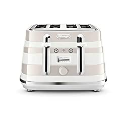 Retro Chic in neutral tones this striking toaster has chrome accents with a retro feel Present gift for fans of contemporary design from the Italian company De'Longhi No more burnt fingers - with a high rise function lifts your bread high so it's eas...