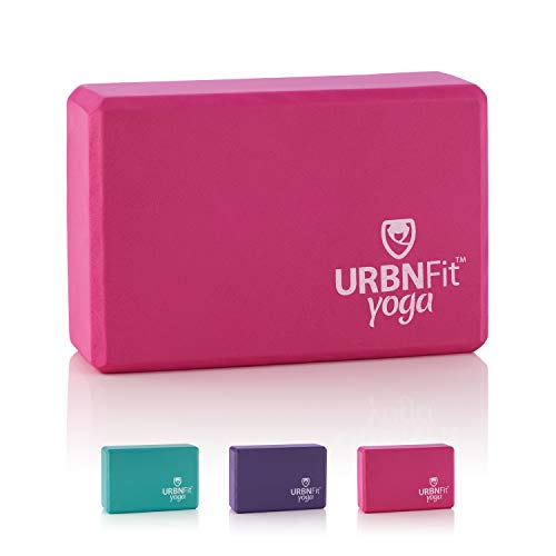 URBNFit Yoga Block - 1PC - Moisture Resistant High Density EVA Foam Block - Improve Balance and Flexibility Perfect for Home or Gym - Free PDF Workout Guide (Pink)