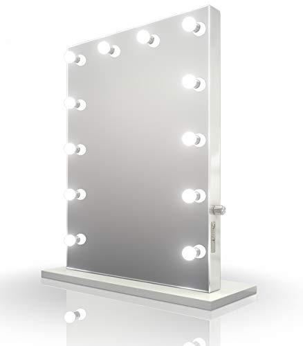 Diamond x Weißer Hochglanz Hollywood Schminkspiegel mit CW LEDs k113MCW