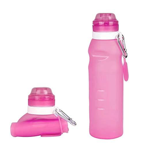 Botella de agua plegable, libre de BPA, botella de agua plegable para viajes, gimnasio, senderismo, silicona portátil a prueba de fugas, botella de agua al aire libre con mosquetón, 600 ml