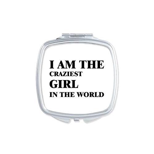 DIYthinker Je suis Le Maquillage Compact Fille Craziest Miroir carré Portable Mignon de Cadeau Miroirs de Poche à la Main Multicolor