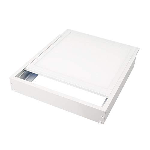 LEDUNI Kit Marco de superficie de Panel 60×60 Blanco Marco Panel LED Empotrable Kit de Superficie Panel 60X60 Marco de Montaje Superficie Borde Blanco