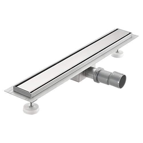 [neu.haus] Duschrinne aus Edelstahl extra flach 90 x 7cm – Boden-Abfluss-Rinne für Dusche bodengleich, Edelstahl-Blende/Abfluss-Sieb in modernem Design
