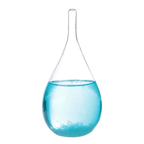 Fdit Gotas de Agua Transparente Juguetes Tormenta de Viento Vidrio Pronóstico del Tiempo Botella Cristal científico Regalo Decorativo(Azul)