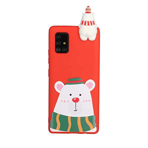 Fanxwu Compatible with Samsung Galaxy A41 Case Soft 3D Silicone Case Ultra Slim TPU Gel Flexible Protective Back Cover Anti-Scratch Case - Polar Bear in Green Hat