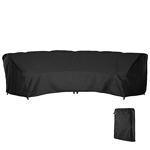 COOSOO Curved Sofa Cover Outdoor Patio Furniture Cover Couch Sectional Protector Waterproof Half Moon Sofa Set Cover with Windproof Elastic Cord for Garden Lawn Indoor All Weather Protection