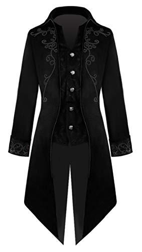 YUAKOU Giacca da Uomo Cappotti, Gotico Steampunk Vintage Cappotto Tailcoat Lunga Cappotto Uniforme Costume Outwear Halloween Cosplay Carnival