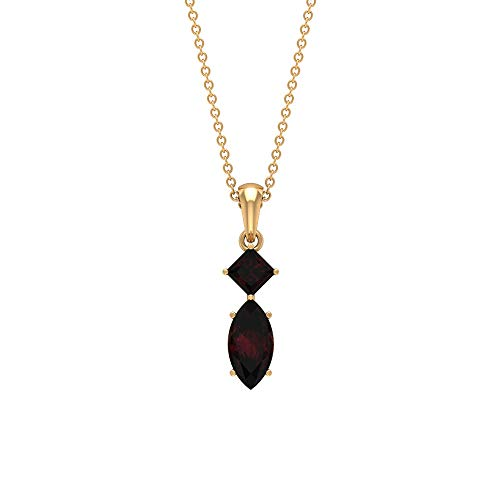 Rosec Jewels 10 quilates oro amarillo marquesa talla princesa Red Garnet