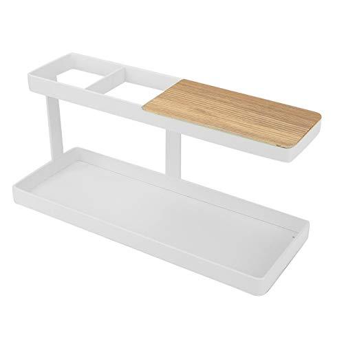 Estante de almacenamiento de escritorio de hierro + madera a estrenar para mesa de centro(white)