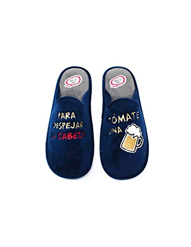 Herren-Hausschuhe mit Memory-Einlegesohle, lustiges Bier - LARO Pol 14, blau - marineblau - Größe: 40 EU