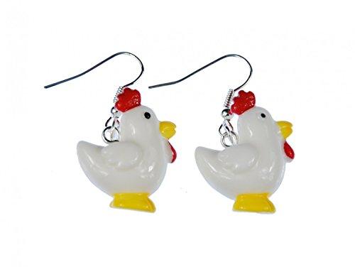 Miniblings Huhn Hühnchen Ohrringe Hänger Tier Vogel Ostern Hahn roter Kamm - Handmade Modeschmuck I Ohrhänger Ohrschmuck versilbert