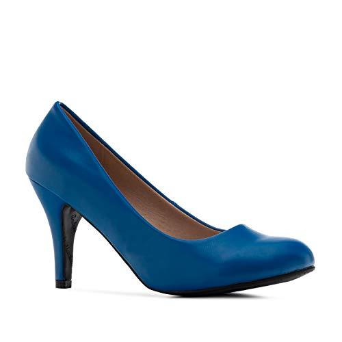 Elegante Pumps aus blauem Lederimitat für Damen und Mädchen mit 9,5 cm Absatz – High-Heels – AM422 – In verschiedenen Farbvariationen – Größe EU 42