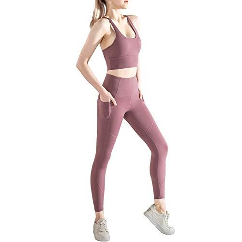 Wisport Pantalon de Yoga féminin Poche de Printemps Coudre Taille Haute Courir Sport serré Fitness Leggings Neuf Points,Purple,S