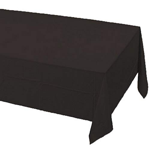 Creative Converting Touch of Color Plastic Table Cover, 54 by 108-Inch, Black Velvet