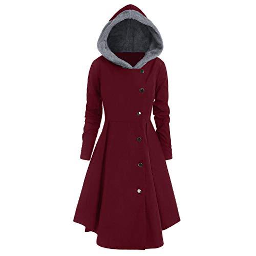 iHENGH Damen Herbst Winter Bequem Mantel Lässig Mode Jacke Frauen Plus Size Asymmetrische Fleece Mit Kapuze Einreiher Lange Drap Buttons Coat(Wein, XL)