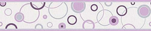 A.S. Création Frise murale Happy Hour grisaille poupre blanc 5,00 m x 0,13 m 259325