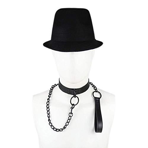 Gentleman Leather Neck Collars Choker Chain Damen Herren B`D`S-M Boňdàgé Props