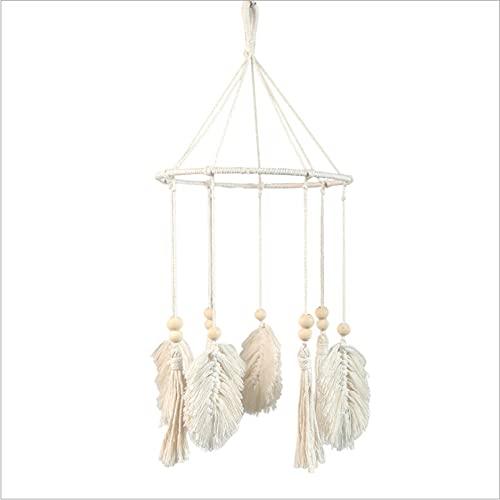 Estilo de la decoración del hogar tejido granos de madera hoja linterna anillo hierro adornos hogar borla habitación adornos
