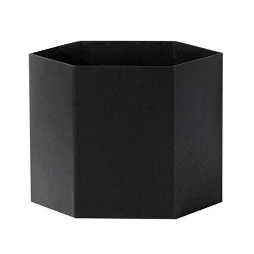 Hexagon Pot X-Large Aufbewahrungsbehälter, schwarz matt Ø18cm H14cm