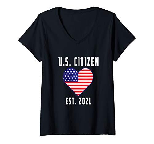 Womens US Citizen Est 2021 - Citizenship Gift American Flag Heart V-Neck T-Shirt